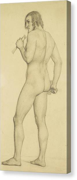 Academic Art Canvas Print - Male - Academic Nude Study Posed As A Sculptor by Ford Madox Brown