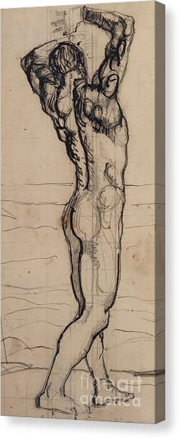 Nudes Canvas Print - Male Act   Study For The Truth by Ferdninand Hodler