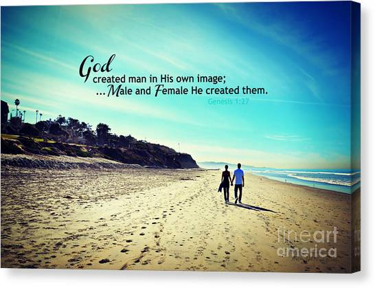 Male And Female He Created Them Canvas Print