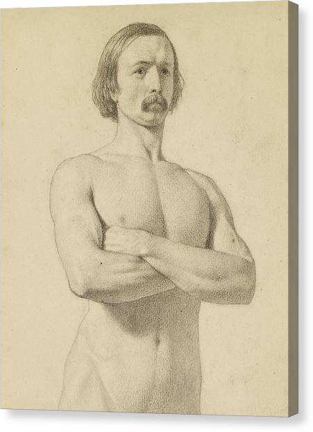 Academic Art Canvas Print - Male Nude - Academic Nude Study, Half-length With Moustache And Arms Folded  by Ford Madox Brown