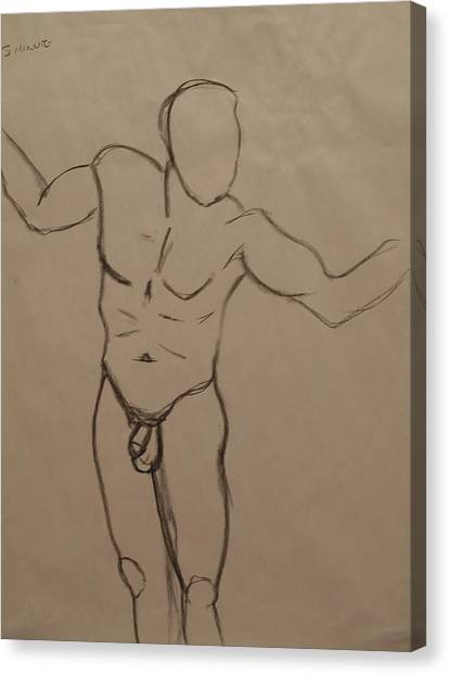 Male Nude Drawing 2 Canvas Print