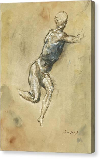 Nude Art Canvas Print - Male Nude Figure by Juan Bosco