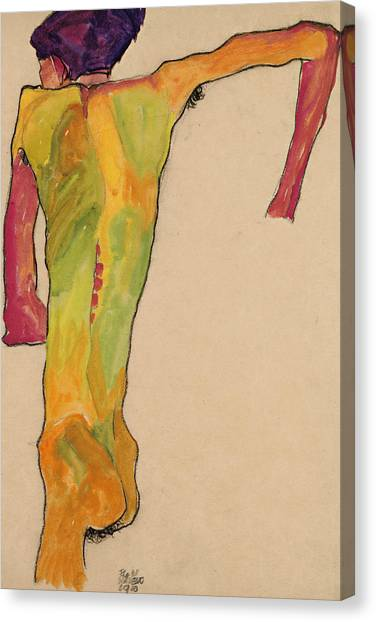Male Nude Art Canvas Print - Male Nude, Propping Himself Up by Egon Schiele