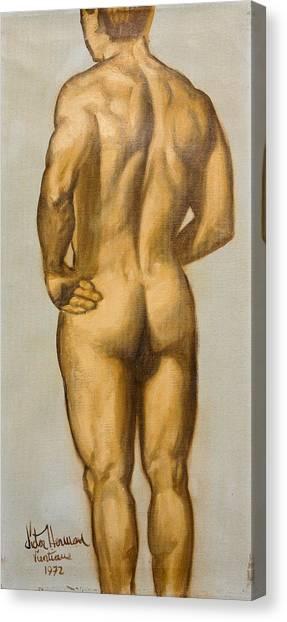 Male Nude Self Portrait By Victor Herman Canvas Print by Joni Herman