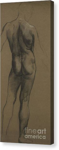 Rear View Canvas Print - Male Nude Study by Evelyn De Morgan
