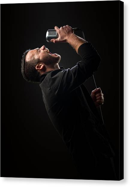 Microphones Canvas Print - Male Singer Singing In Mic by Johan Swanepoel