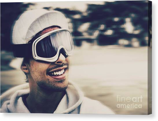 Snowboarding Canvas Print - Male Snowboarder Wearing Ski Goggles And Smile by Jorgo Photography - Wall Art Gallery