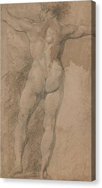 Neoclassical Art Canvas Print - Male With Arms Spread Wide Seen From Behind by Treasury Classics Art