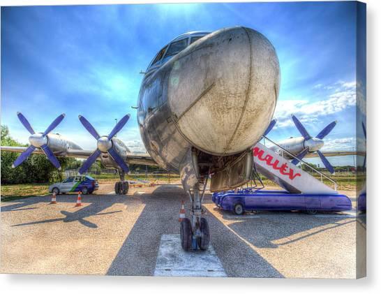 Ilyushin Canvas Print - Malev Hungarian Airlines Ilyushin Il-18 by David Pyatt