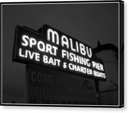 Malibu Pier Sign In Bw Canvas Print