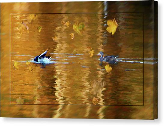 Mallard Ducks On Magnolia Pond - Painted Canvas Print