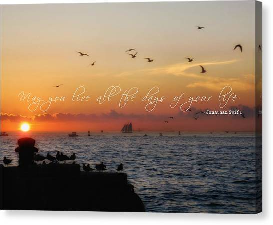 Mallory Square Sunset Quote Canvas Print by JAMART Photography