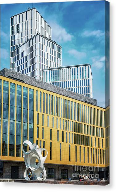 Western Conference Canvas Print - Malmo Live Building Blocks With Sculpture by Antony McAulay