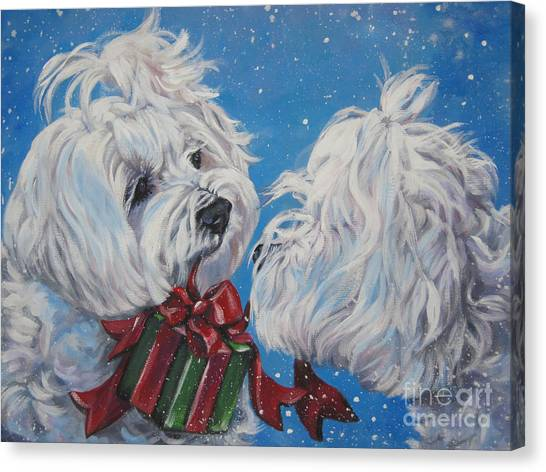 White Maltese Canvas Print - Maltese Christmas by Lee Ann Shepard