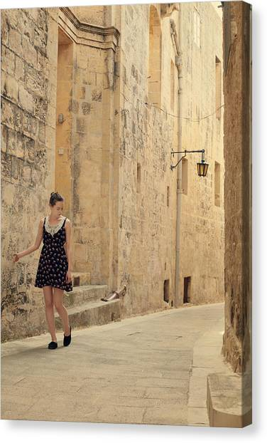 Young Adults Canvas Print - Maltese Streets by Cambion Art