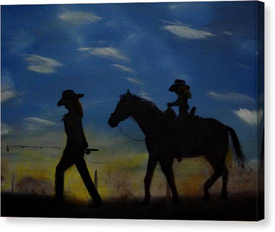 Mama And Daughter Going Fishing Canvas Print by Edgar Verdin