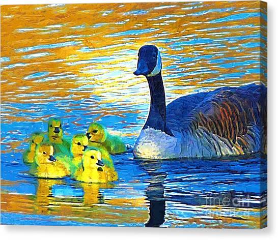 Mama And Her Goslings Canvas Print by Deborah MacQuarrie-Selib