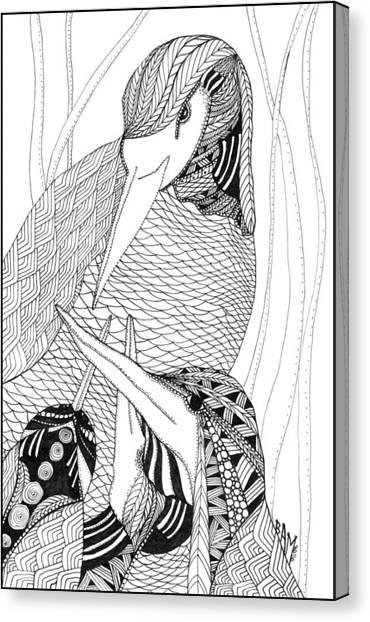 Mama Heron Canvas Print