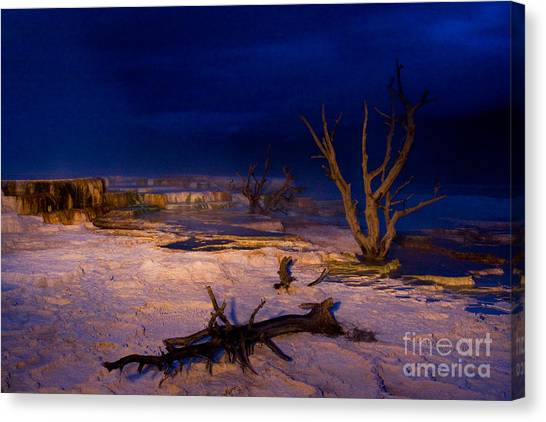 Mammoth Upper Terrace Light Painted V1 Canvas Print