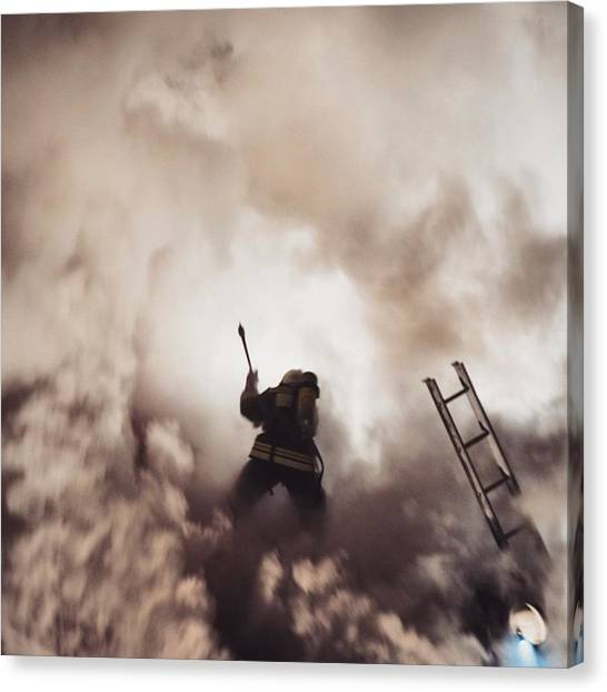 Axes Canvas Print - Man Against Fire.  #nsk #jj #fire #nfd by Vitaly Kushnir