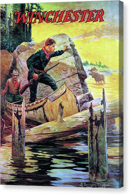 Canvas Print featuring the painting Man And Guide In Canoe by R Farrington Elwell