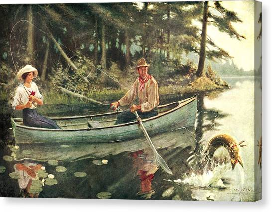Canoe Canvas Print - Man And Woman Fishing by JQ Licensing