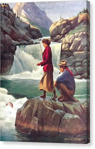 Canoes Canvas Print - Man And Woman Fishing by JQ Licensing