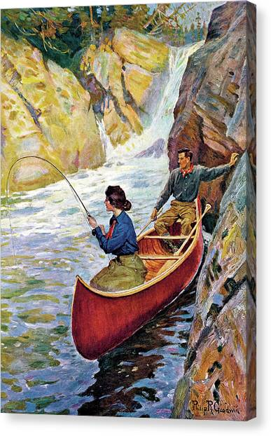 Man And Woman In Canoe Canvas Print