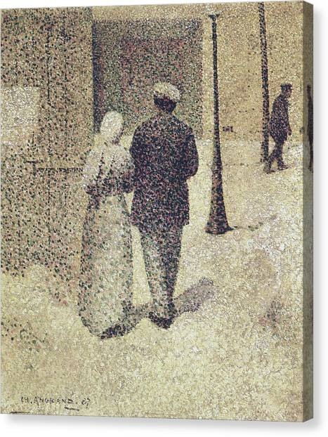 Pointillism Canvas Print - Man And Woman In The Street by Charles Angrand
