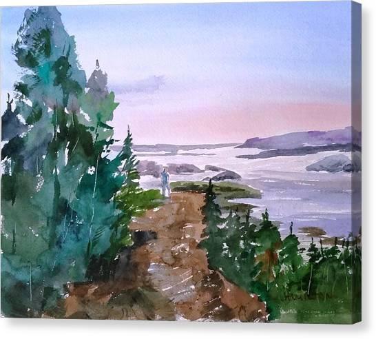 Man At Fraser Lake Bc Canvas Print