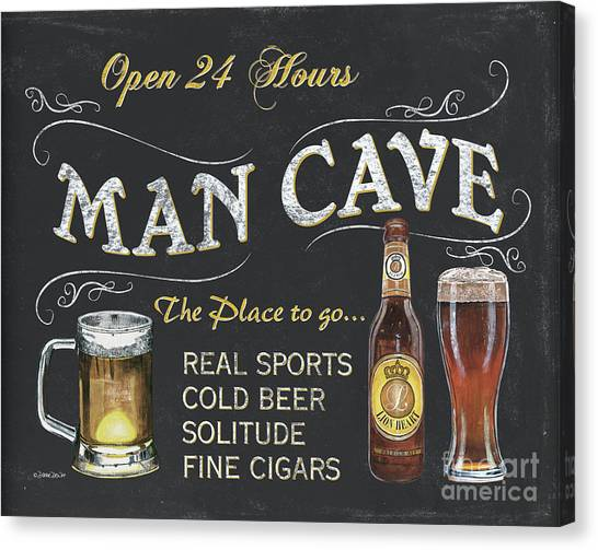 Liquor Canvas Print - Man Cave Chalkboard Sign by Debbie DeWitt