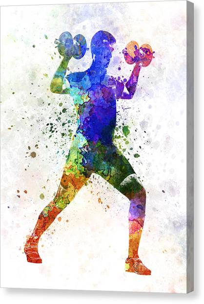 Gym Canvas Print - Man Exercising Weight Training by Pablo Romero