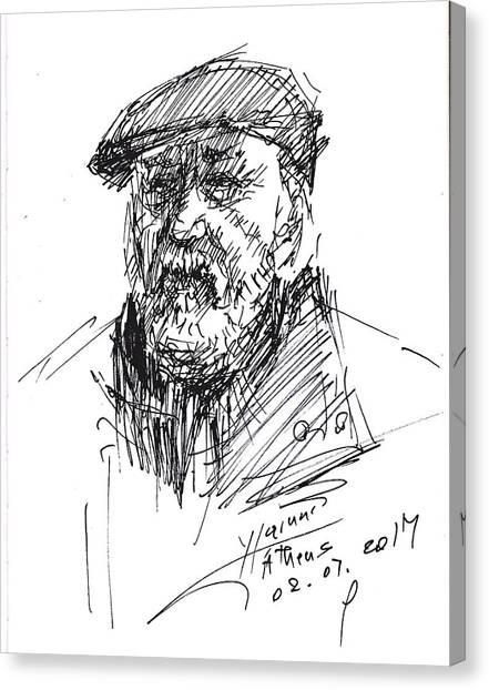 Old Man Canvas Print - Man In A Hat by Ylli Haruni