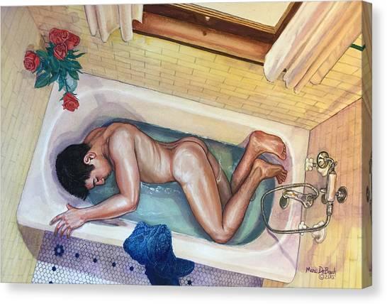 Man In Bathtub #3 Canvas Print