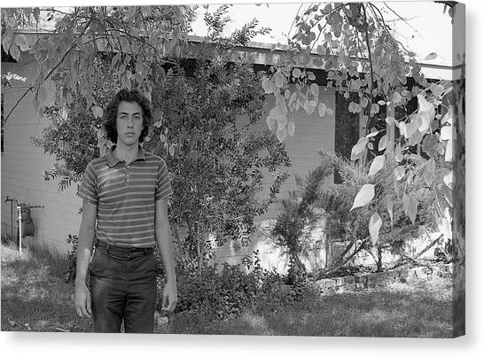 Man In Front Of Cinder-block Home, 1973 Canvas Print