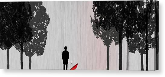 Raining Canvas Print - Man In Rain by Jim Kuhlmann