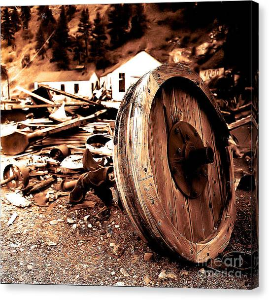 Man Inventid The Wheel Canvas Print