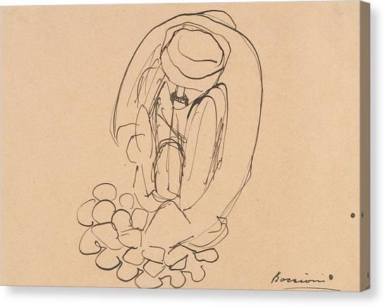 Pavers Canvas Print - Man Laying Paving Stones by Umberto Boccioni