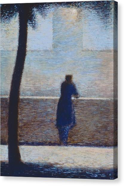 Pointillism Canvas Print - Man Leaning On A Parapet by Georges Pierre Seurat