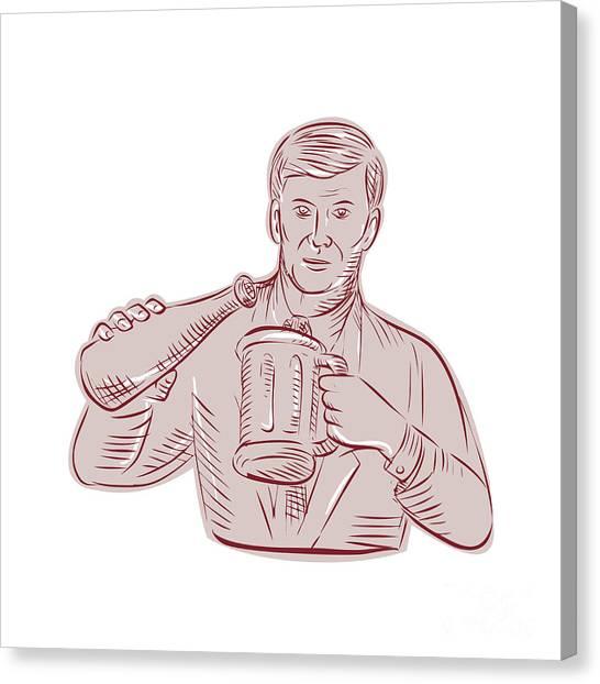 Beer Canvas Print - Man Pouring Beer Mug Etching by Aloysius Patrimonio