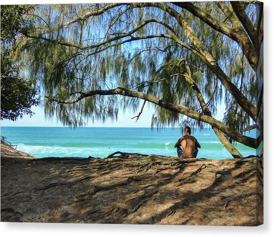 Man Relaxing At The Beach Canvas Print