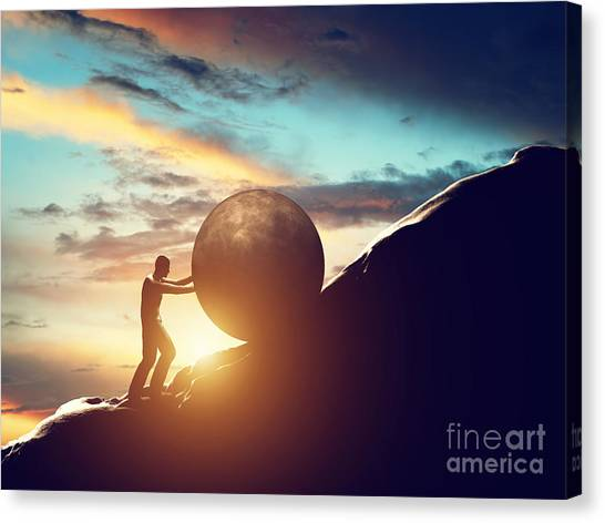 Man Rolling Huge Concrete Ball Up Hill Canvas Print