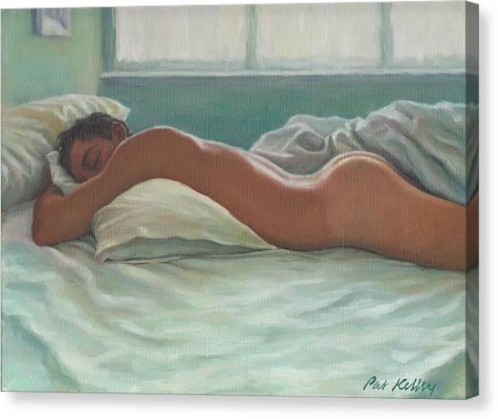 Man Sleeping In Morning Light Canvas Print by Pat Kelley