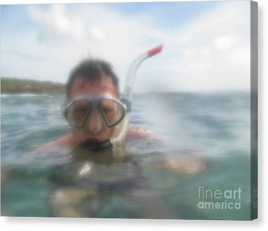 Snorkling Canvas Print - Man Snorkling In Close Up by Patricia Hofmeester