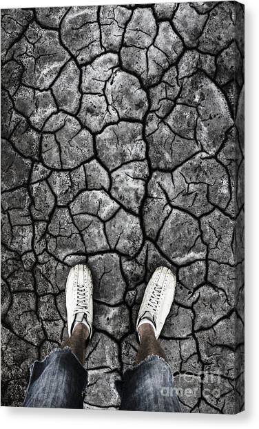 Climate Change Canvas Print - Man Standing In Drought Stricken Australia  by Jorgo Photography - Wall Art Gallery