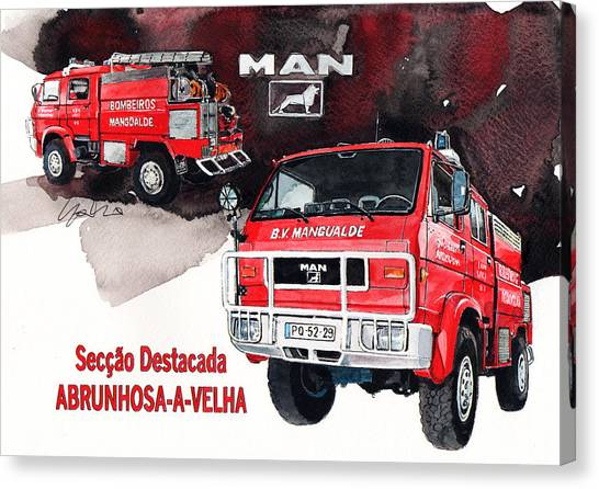 4x4 Canvas Print - Man-vw 4x4 Fire Engine by Yoshiharu Miyakawa