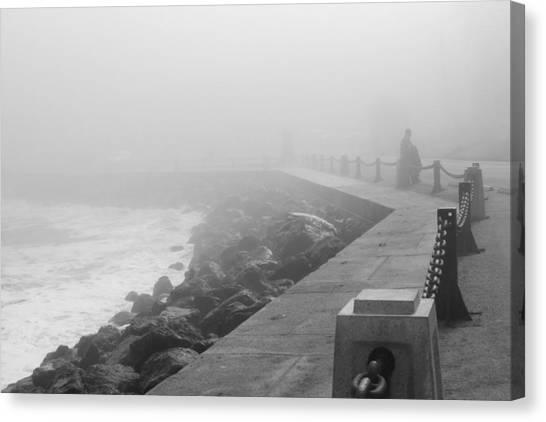 Man Waiting In Fog Canvas Print