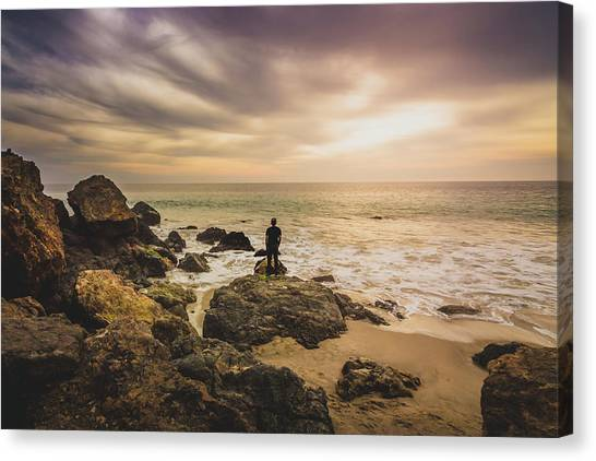 Man Watching Sunset In Malibu Canvas Print