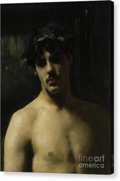 Chiaroscuro Canvas Print - Man Wearing Laurels by John Singer Sargent