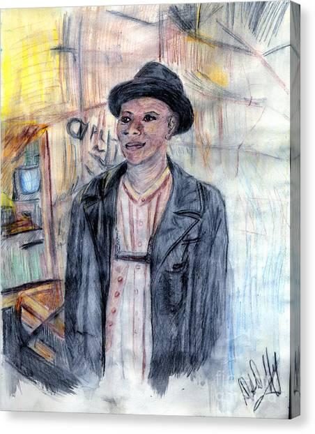 Man With A Harmonica Canvas Print by Deborah Duffy